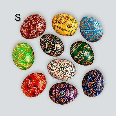 Pysanka, 10 Ukrainian Wooden Easter Eggs, Colorful, SMALL