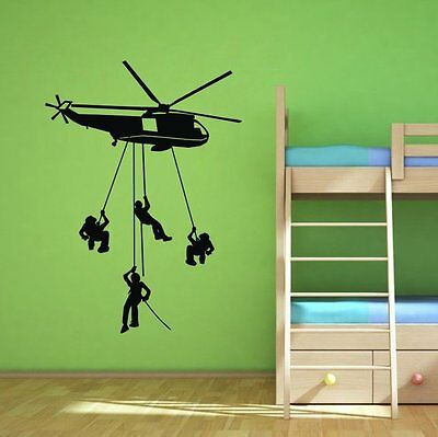 Army Troops Helicopter Soldier wall decal Wall Art Quote Sticker