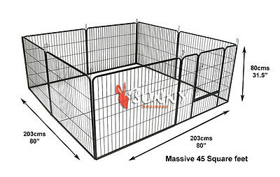 Heavy Duty 8 Piece Puppy Dog Play Pen Run Enclosure Welping Pen Playpen