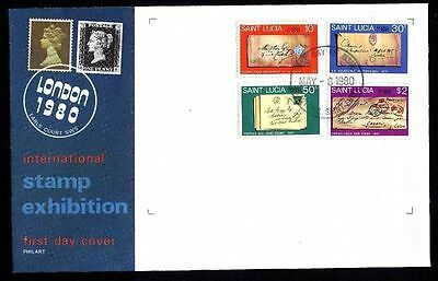 St. Lucia 480/3 FDC Internationale Briefmarkenausstellung LONDON 1980