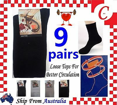9Prs Mens MEN Cotton Medical Circulation Diabetic LOOSE TOP SOCKS size 6-11 Bulk