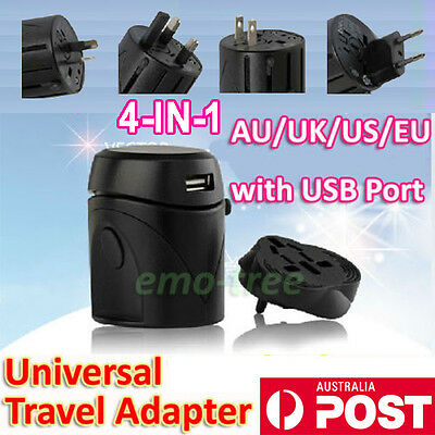 International Travel AC Adapter USB Power Plug Converter AUS UK US EU Universal
