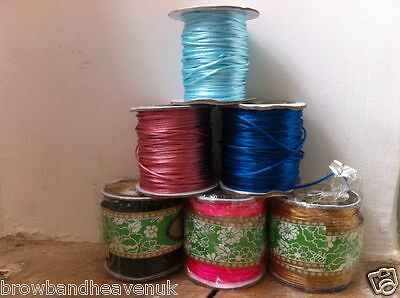 5 metres of 1.5mm  NYLON SATIN RATTAIL CORD SHAMBALLA THREAD