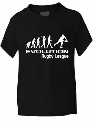 Evolution Of Rugby League Girls Boys T Shirt Rugby Gift Sizes 1-13 Years