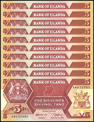 Uganda 5 Shillings X 10 Pieces - PCS, 1987, P-27, UNC