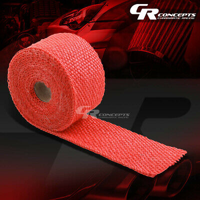 """15FT//180/""""L 2/""""W HEADER//MANIFOLD//EXHAUST TURBO DOWN PIPING RED HEAT WRAP TAPE"""