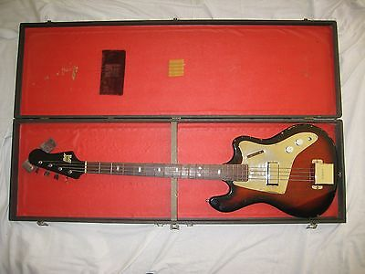 Vintage Kent Basin Street Bass Guitar with Original Case Made in Japan