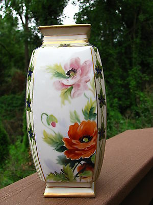 """Antique Nippon Vase Art Deco Hand Painted Poppies Flowers Marked 8"""" Tall Japan"""