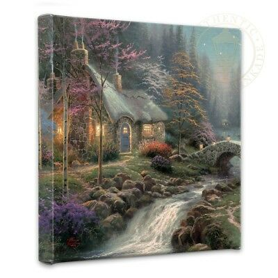 Thomas Kinkade Cottage Twilight Cottage 14 x 14 Wrapped Canvas