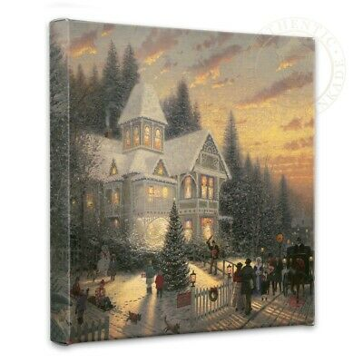 Thomas Kinkade Wrap Victorian Christmas 14 x 14 Gallery Wrapped Canvas