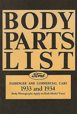 Body Parts List - Ford Passenger & Commercial Cars 1933 and 1934