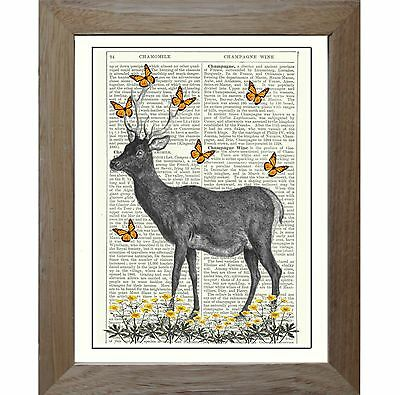 Art Print Vintage Stag Deer Yellow Butterfly Flowers Original Antqiue Book Page