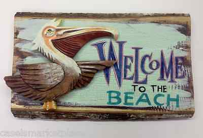 Coastal Art Welcome To The Beach Pelican Sign Handmade Shore Wood Wall Plaque