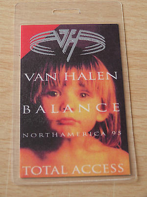 VAN HALEN Laminated TOTAL ACCESS Backstage Tour Pass - Balance North America 95