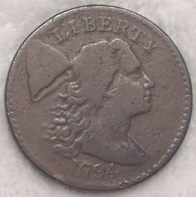 1794 Flowing Hair Liberty LARGE CENT F+/VF SUPER RARE! R.5 S-51 Variety Cracked