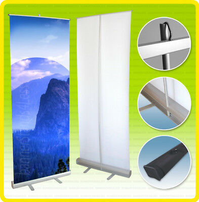 24x79 Retractable Banner Stand Trade Show Roll Up Custom Display Free Printing