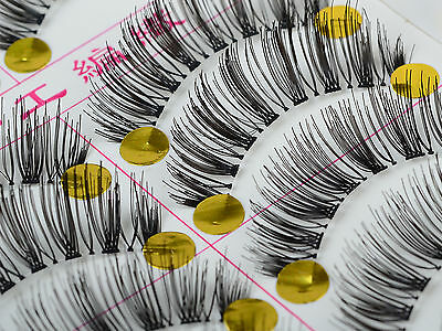 Bulk 10 Pairs Handmade Natural Long Thick False Eyelashes Makeup Eye Lashes NEW