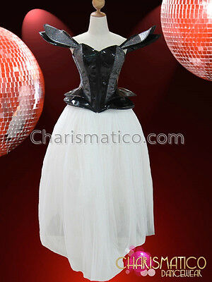 CHARISMATICO Red and black vinyl Lady Gaga inspired front zip corset