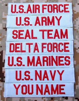 White Chest Tapes Custom name Tapes ARMY SEAL NAVY AIR Embroidery Patch