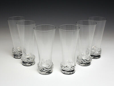 "6pc Daum Nancy 5.5"" Champagne Flutes Cristal Crystal Glasses, 1960 Etched mark"