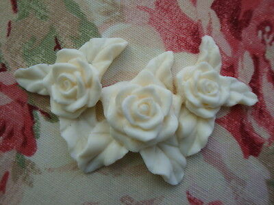 Shabby & Chic Triple Rose Furniture Applique Architectural Onlay Pediment Trim