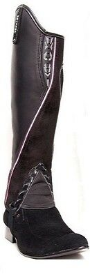 Extreme Leather Gaiters - Black with Pink piping