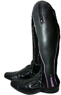 Extreme Leather Gaiters - Black with Purple piping