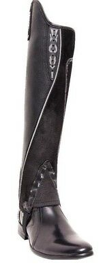 Extreme Leather Gaiters -  Black with Silver Piping