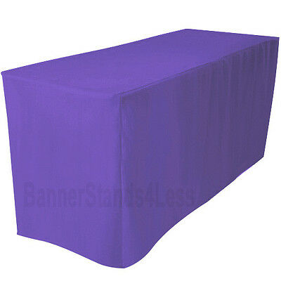 "4' Fitted Polyester Table Cover Wedding Banquet Tablecloth 24"" Width - PURPLE"