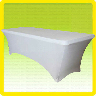 SPANDEX 8' Fitted Tablecloth Wedding Banquet Party Stretch Table Cover, WHITE