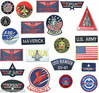 TOP GUN PATCHES ,Top Gun Flight Suit embroidered Iron On Patches NEW !!!!