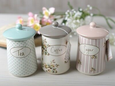 Set of 3 KATIE ALICE Cottage Flower CERAMIC STORAGE JARS Shabby Chic CANISTERS
