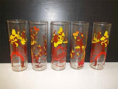 Federal Dancing Cowboy Girl Natives Brown Yellow Mix Drink Clear Glass Vtg Lot