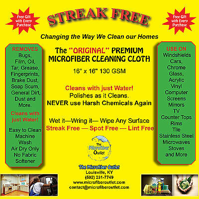 STREAKFREE Microfiber Cleaning Cloths Towels White 10 Multipurpose Lint Free