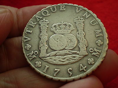 Nice Date Beautiful 1754 SPAIN FERDINAND V1 Silver Pillar 8 Reales MOMF Coin