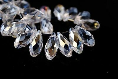 10pcs 13X8mm Teardrop Crystal Glass Loose Beads Pendants Clear White AB