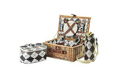 Andrew James Luxury 2 Person Wicker Picnic Hamper Basket + Cooler Bags Outdoors