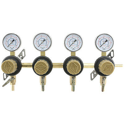4-Way Secondary Air Regulator - Polycarbonate Bonnet - CO2 to 4 Draft Beer Kegs!