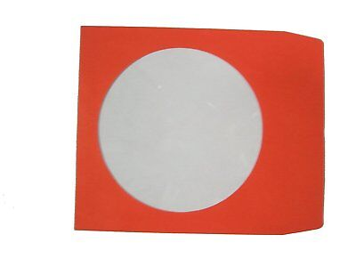 100 Pack Premium Color Paper CD DVD Sleeves Envelope with Window Red