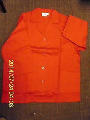 New Large Fits Chef Cook Uniform Smock Coat Red Button Front 3/4 Sleeve