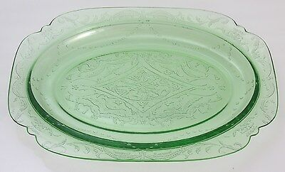 "Vtg Green Depression Glass Platter 11.5"" x 8.5"" probably Federal glass co.   EUC"