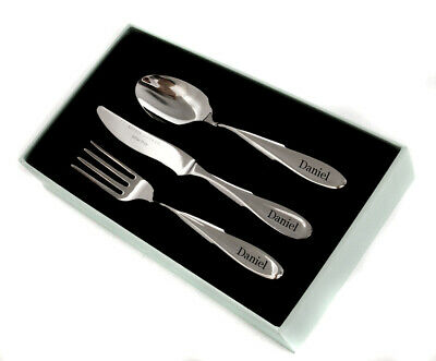 Personalised Rivelin 3 Piece Childrens Cutlery Set by Arthur Price, Engraved