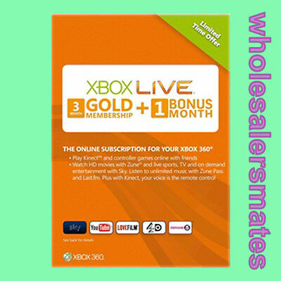 3+1= 4 Month Xbox Live Gold Membership Code Card for 360 & One AU -FAST DISPATCH