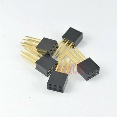 10pcs 2.54mm 2x3 6pin Double Row Female stackable Straight Header Connect socket