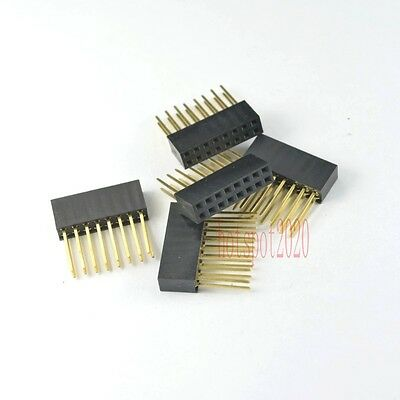 10pcs 2.54mm 2x8 16pin Double Row Female stackable Straight Header socket Strip
