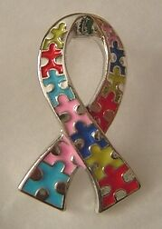 Autism Awareness puzzle ribbon pin, silver tone