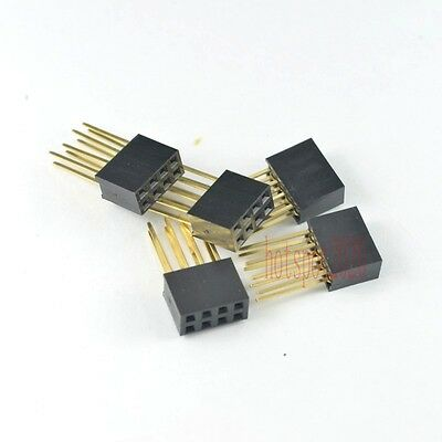 50pcs 2.54mm 2x4 8pin Double Row Female stackable Straight Header Connect socket