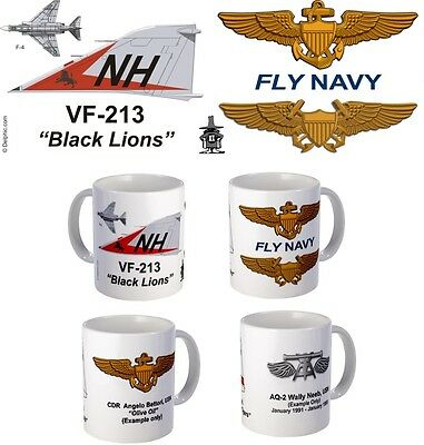 "VF-213 ""Black Lions"" F-4 Phantom or F-14 Tomcat mug."