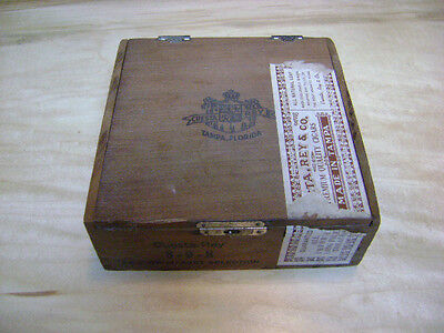 Antique Solid Wood Cigar Box CUESTA-REY 898 TAMPA FL Dovetailed joints