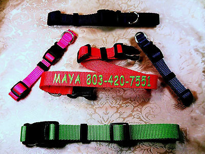 """Personalized (1"""", 3/4"""" & 5/8""""  Wide) Embroidered Dog Collar, Up To 24 Letters"""